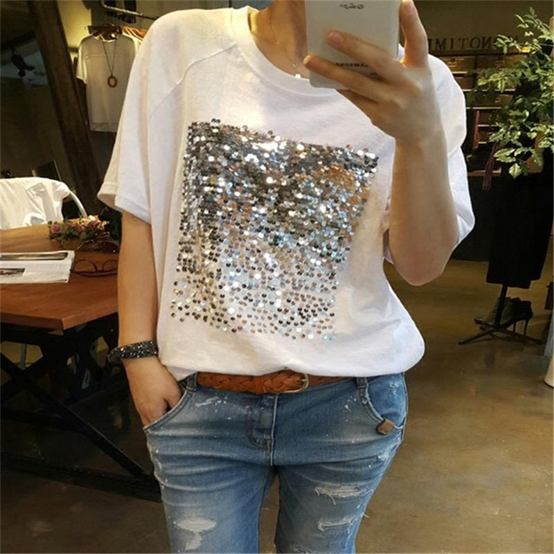 2020 Fashion Korean Sequins T Shirt For Women Loose Large Size Bamboo Cotton White Sequins T-shirt Female Short-sleeved Fitness