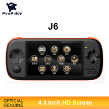 POWKIDDY J6 Handheld Game Console 4.3 Inch IPS HD Screen 1000mA 8GB Simulator Arcade MAME Built  In 2300 Games Childrens Gif