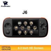 POWKIDDY consola de juegos portátil J6, pantalla IPS HD de 4,3 pulgadas, 1000Ma, 16GB, simulador de Arcade MAME, juegos integrados, Gif para niños, 2300
