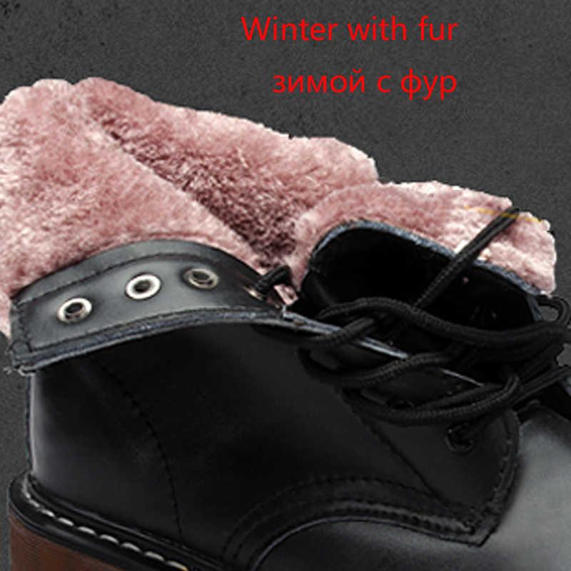 Kadın botları erkekler moda hakiki deri ayak bileği Martin çizmeler kadınlar için rahat dantel-up Dr. motosiklet ayakkabı sıcak kış çizmeler