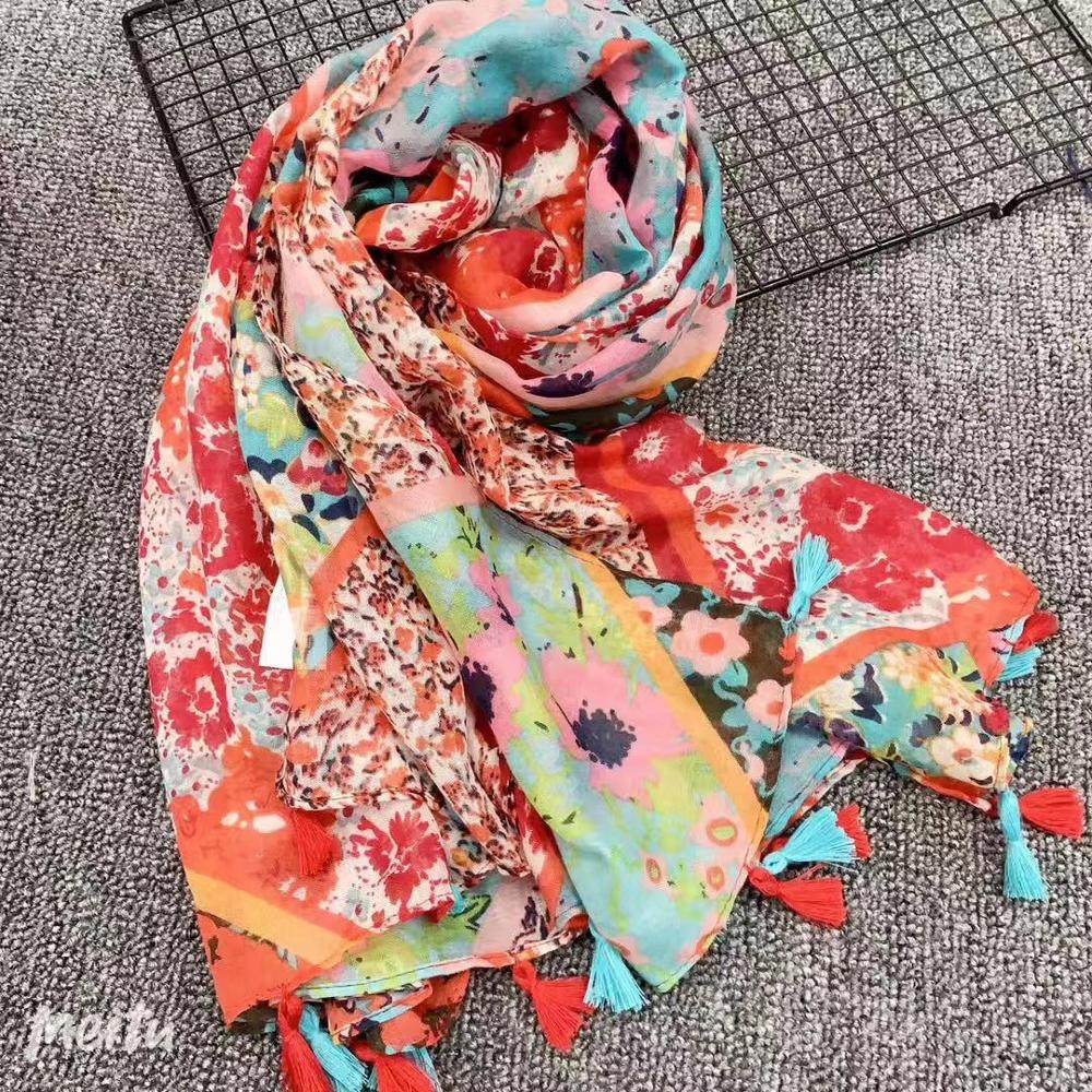 2020 New Spring Flower Print Scarf Shawls Floral Tassel Long Wrap Viscose Hijab Free Shipping