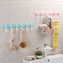 цена на 6 Even Row of Hooks Strong Adhesive Hook Kitchen Wall Hanging Creative Bathroom Nail-free Seamless Rack Hanger Hook Shelves