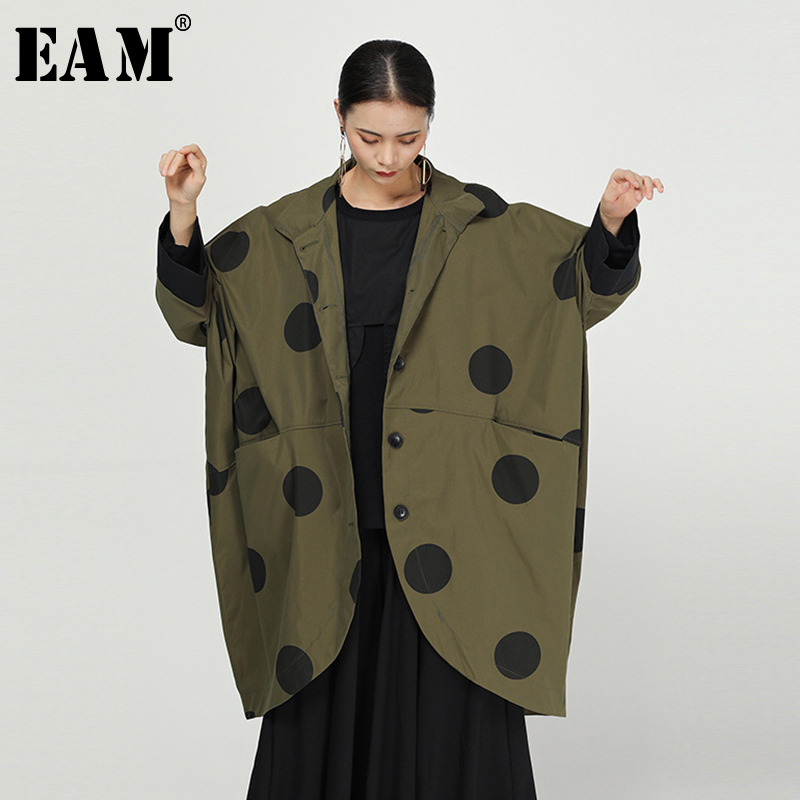 [EAM] Loose Fit Green Back Long Dot Print Split Big Size Jacket New Lapel Long Sleeve Women Coat Fashion Tide Spring 2020 1N473