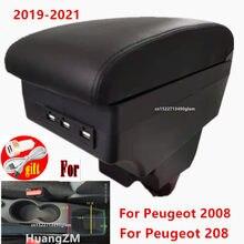 Para peugeot 2008 caixa de apoio de braço para peugeot 208 2019 2020 2021 ano centro couro preto nova caixa armazenamento modificação acessórios