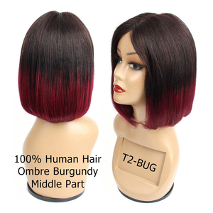 Image 4 - Bobbi Collection Straight Human Hair Wigs I Type Lace Part Wig Cheap Middle Part Full Wigs Short Bob Style Brazilian Remy Hair