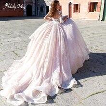 Adoly מיי רומנטי סקופ צוואר חצי שרוול אונליין חתונה שמלות 2020 מדהים אפליקציות תחרת משפט רכבת כלה שמלה בתוספת גודל