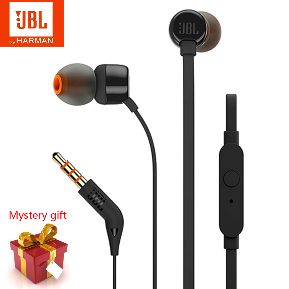 Original JBL T110 In-Ear Wired Headphones Music Deep Bass Earbuds Sport Running Earphones Headset With Mic Support IOS Android