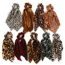 Fashion Leopard Print Knotted Scrunchies DIY Ponytail Ribbon Hair Scarf Women Girls Elastic Bow Hair Ropes 2019 Hair Accessories(China)