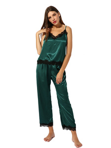 Image 1 - Pijamas de cetim conjunto de pijamas cami topo longo calcinha macia pj conjunto sexy nightwear macio homedress