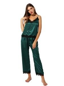 Image 1 - Satin Pyjamas Nachtwäsche Set Cami Top Lange Panty Weiche PJ Set Sexy Nachtwäsche Weiche Homedress