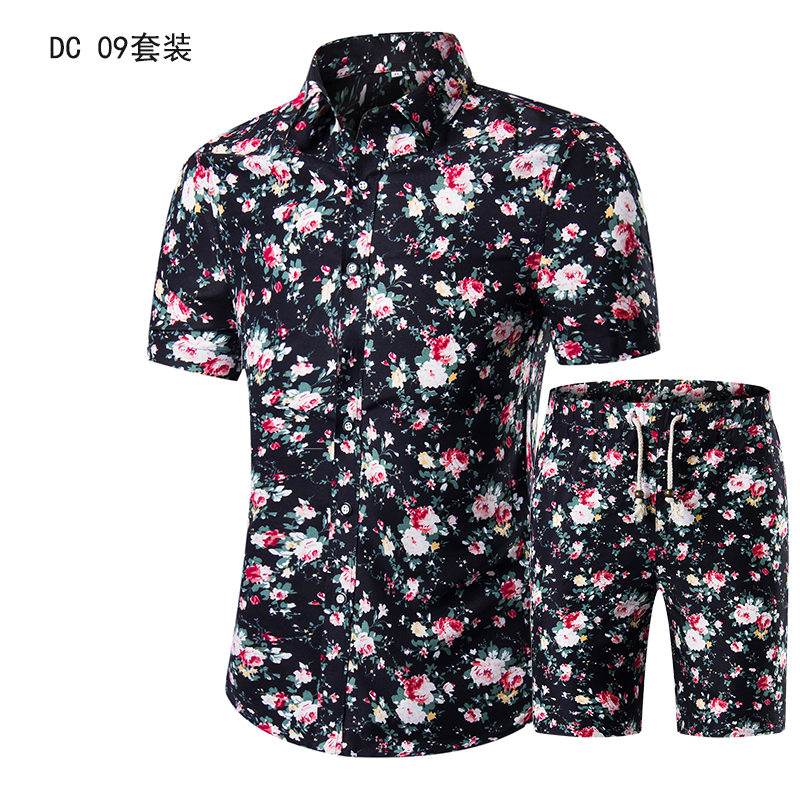 YASUGUOJI New Summer 2019 Fashion Floral Print Two Piece Suit Pant Slim Fit Short Sleeve Shirt With Shorts 2 Piece Men Sets