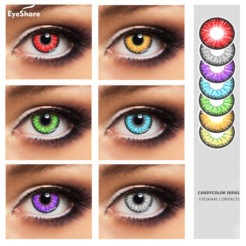 EYESHARE- 2pcs/pair Candy Color Yearly Color Cosmetic  Contact Lens Enlarge Pupil Contact Lenses Eye Color