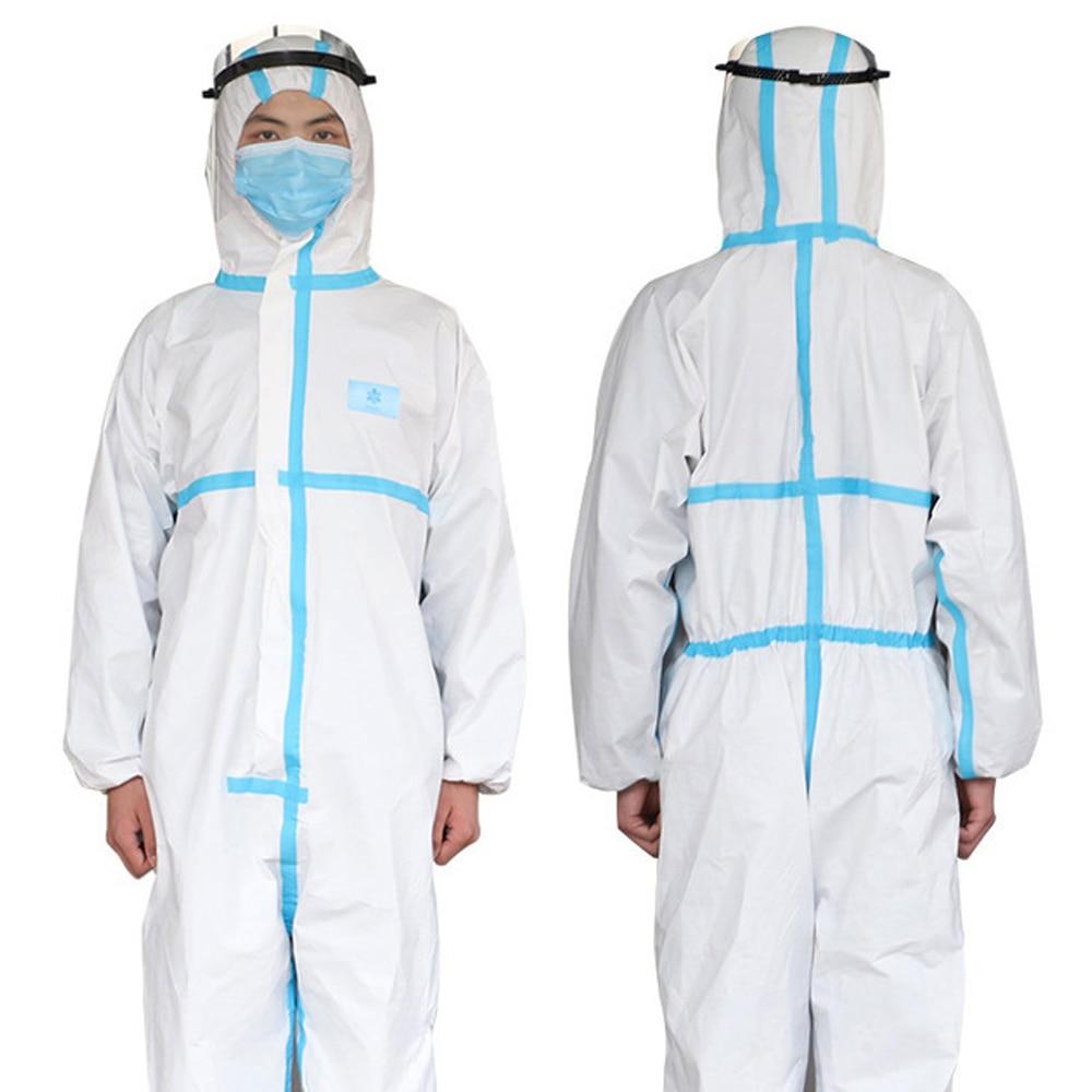 Wegwerp Overall Beschermende Hazmat-kleding Voor Volledig Lichaam Elastische Polsbootie En Capuchon 2-pack White & Blue Medium