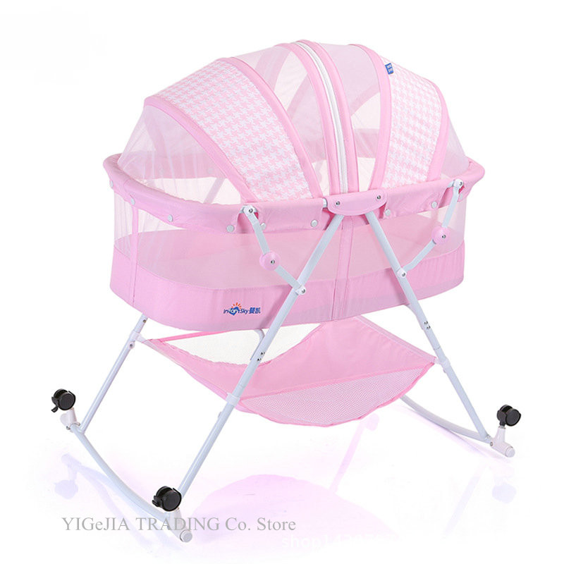 Foldable Baby Bed With Mosquito Net, Portable Infant Rocking Cradle Have 4 Lockable Wheels