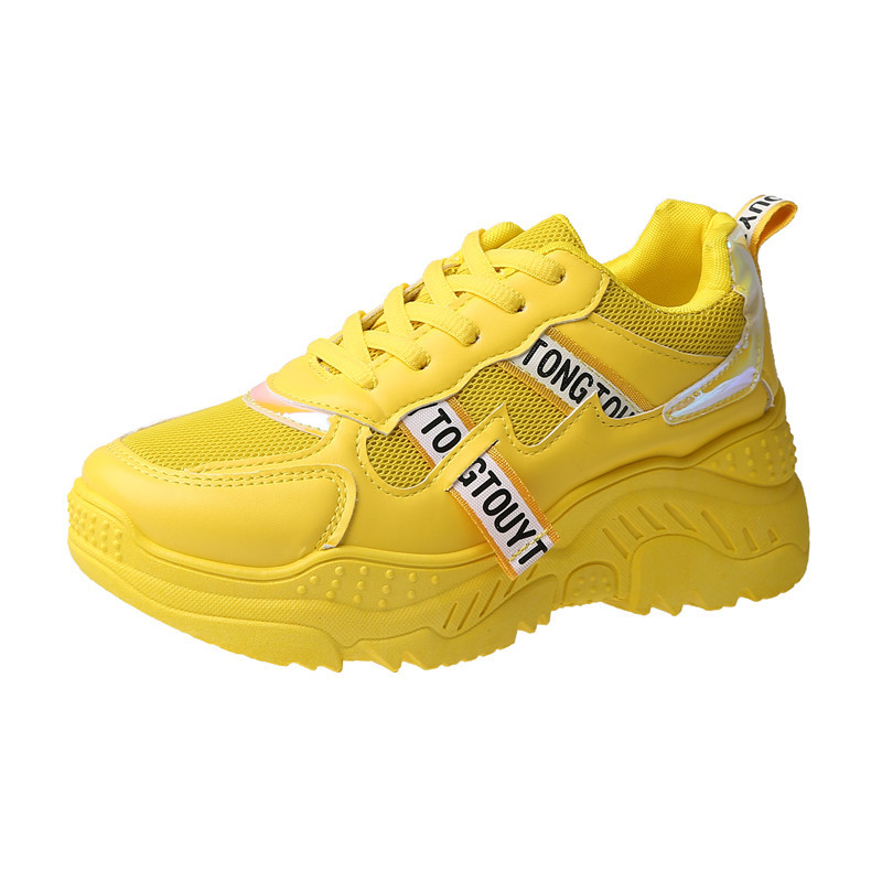 2020 Women Platform Sneakers INS Fashion Mesh Woman Vulcanized Shoes Tenis Female Thick Sole Yellow Running Casual Shoes Size 41 4