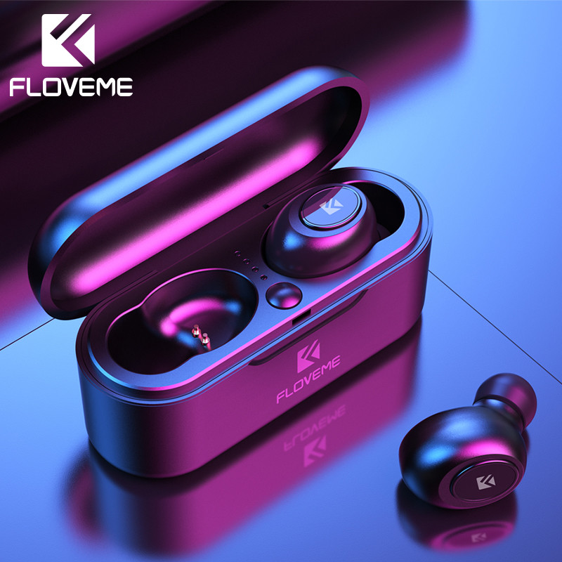 Беспроводные наушники Floveme Airdots с голосовым управлением, Bluetooth 5,0, шумоподавлением, сенсорным управлением и зарядным устройством для iPhone
