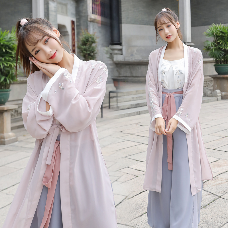 Chinese Traditional Ancient Hanfu Costumes Classical Tang Dynasty Princess Hanfu Dress Embroidery 3PCS Retro Folk Dance Suit