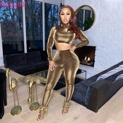 Adogirl-Conjunto de dos piezas de alambre dorado, Top corto de manga larga con cuello de tortuga y pantalones pitillo, traje informal para mujer, ropa para discoteca y exteriores