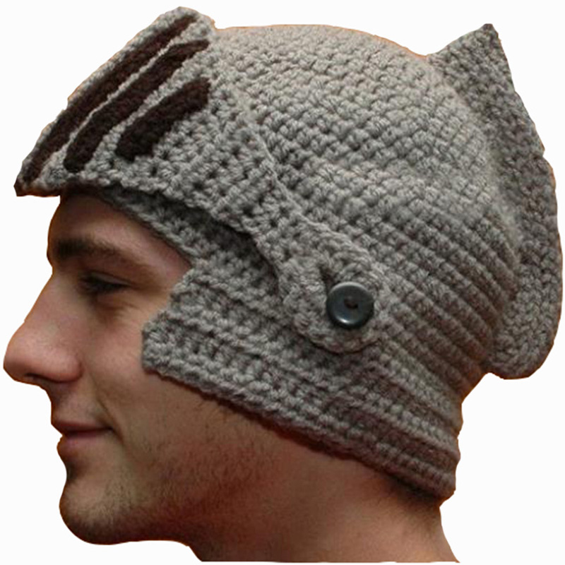 NDUCJSI High quality Winter   Skullies   Roman Knight Knit Hat Face Neck Wind Handmade Cotton Hat Gladiator Masks Cap   Beanies