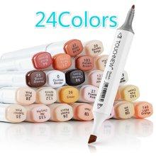 Conjunto de toque de 24 cores para pele, caneta marcadora para arte, com base de álcool cabeça dupla, caneta para coloração
