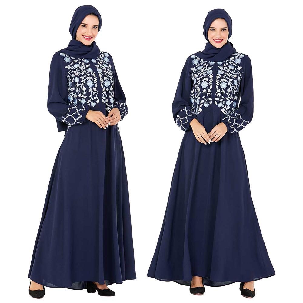 Ethnique Abaya Robe avant fermeture éclair broderie caftan islamique Jilbab occasionnel moyen-orient lâche automne longue Robe à manches longues Robe