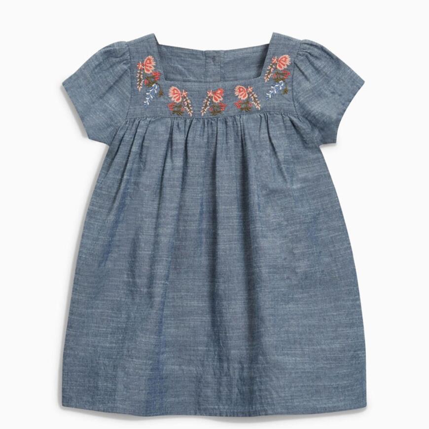 Little Maven 2020 New Summer Baby Girls Clothes Brand Dress Kids Cotton Flower Applique Short Sleeve Dresses S0739