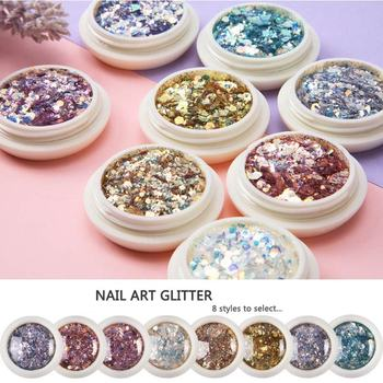 1 Box Nail Holographic Glitter Flakes Powder 3D Hexagon Colorful Sequins Spangles Polish Manicure Nails Art Decorations