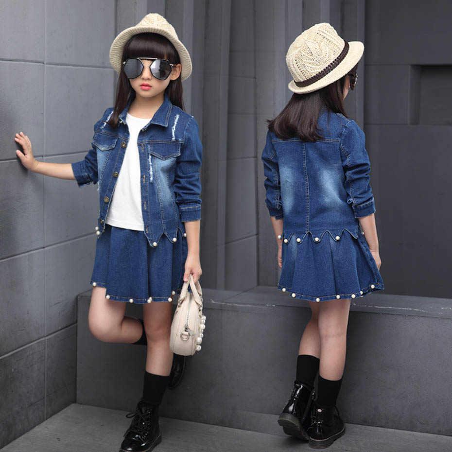 Çocuk giysileri delik kot ceket + etek 2 adet takım elbise kızlar için moda düzensiz kız kıyafet inciler ile sonbahar yeni takım elbise