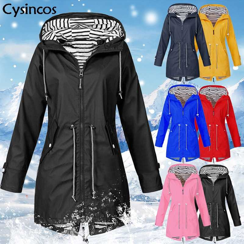 Cysincos Outdoor Jacket for Women Waterproof Jacket Female 2019 Autumn Winter Zipper Coat Hiking Climbing Jacket Sport Clothing