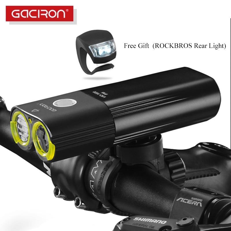 GACIRON Bicycle Light USB Rechargeable Bike Front Headlight  Cycling Flashlight IPX6 Waterproof 5000mAh 1600Lumen LED Lamp 6  Modebike frontbicycle light usbbicycle light