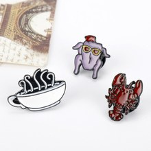 Friends Brooches Pins Crayfish Sofa Coffee Lobster Turkey Enamel Pins Badge Coat Dress Shirts Backpack Brooch Jewelry Xmas Gift(China)
