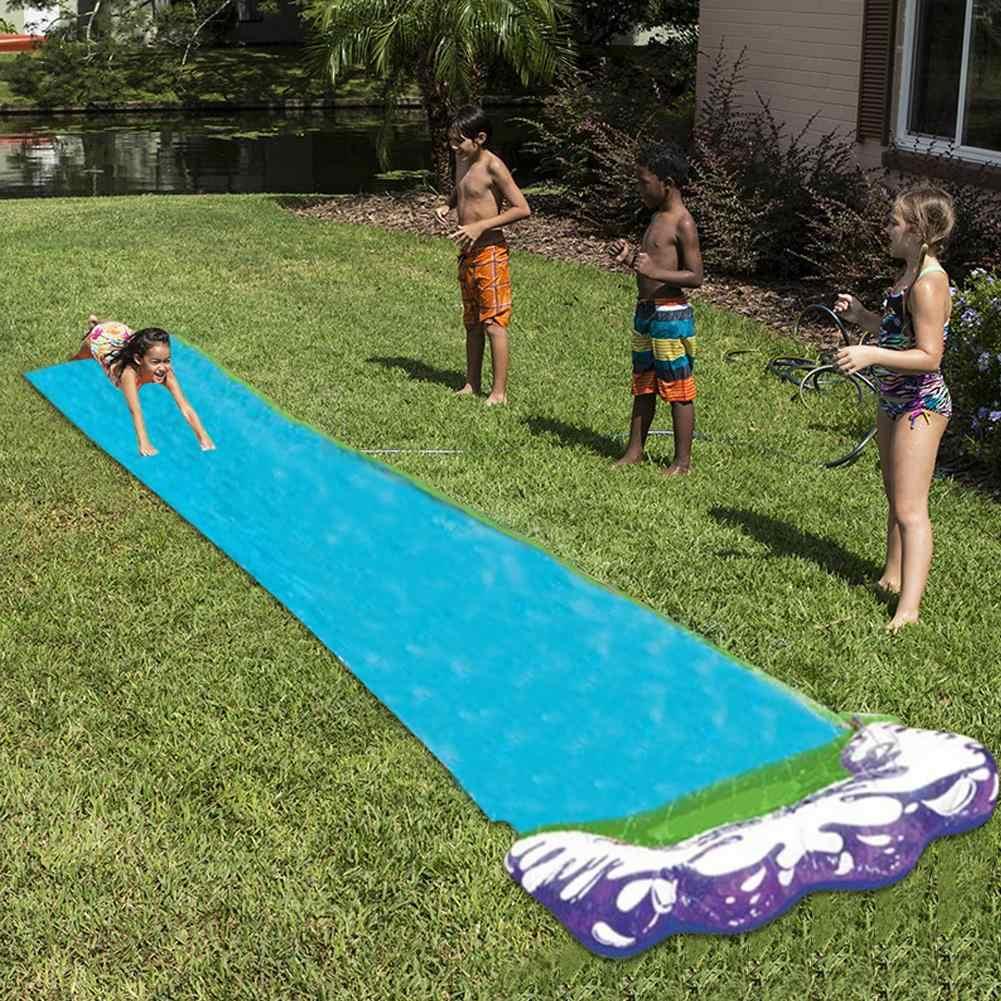 Hot 4,8 m Einzel Wasser Rutsche PVC Aufblasbare Spaß Im Freien Rasen Hinterhof Spray Wasser Rutsche Pools Sommer Spielzeug Für Kinder juegos de agua