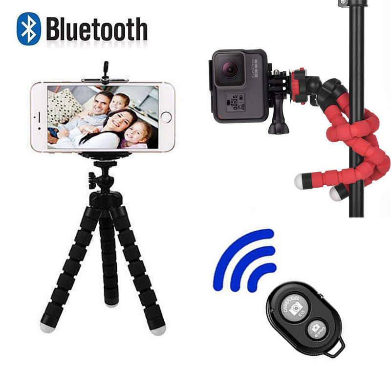 Bluetooth Fernbedienung Mini Flexible Schwamm Octopus Stativ für Sport Action Video Kamera Tragbare Handy Stehen für Iphone x Ios