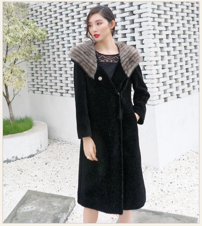 Shearling Sheep Luxury Fur Coat Female New Long Winter Coats Women Natural Mink Fur Hooded Real Wool Jacket X-11          S