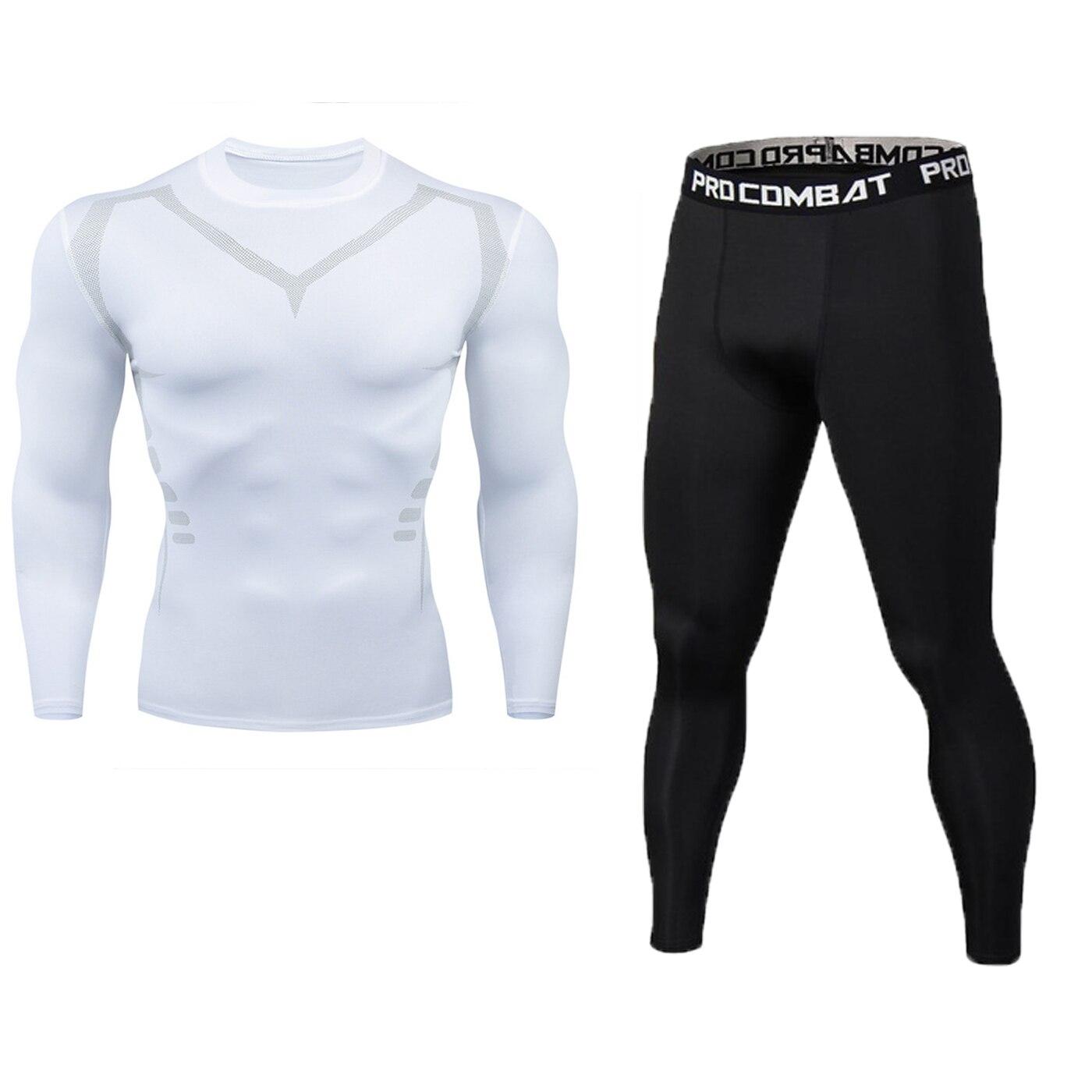 Neue Fitness männer Set Reine Schwarz Kompression Top + Leggings Unterwäsche Crossfit Langarm + Kurzarm T-Shirt Bekleidung set