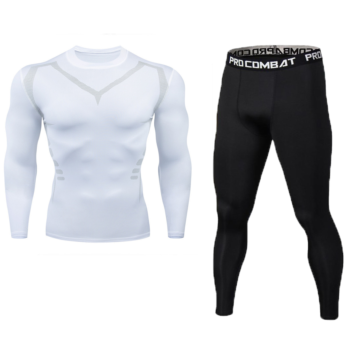 New Fitness Men's Set Pure Black Compression Top + Leggings Underwear Crossfit Long Sleeve + Short Sleeve T-Shirt Apparel Set