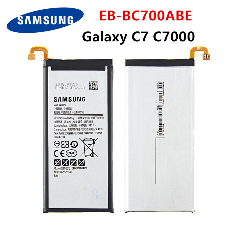 SAMSUNG Orginal EB-BC700ABE 3300mAh Battery For Samsung Galaxy C7 C7000 C7010 C7018 C7 Pro Duos SM-C701F/DS SM-C700