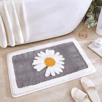 Bath Mat Bathroom Non-Slip Rug Toilet Door Mat Small Daisy Absorbent Non-slip Mat Anti-fall Foot Pad Door Carpet Floor Household
