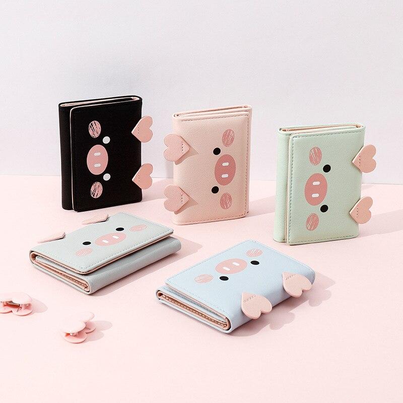 Корейский симпатичный женский короткий кошелек из искусственной кожи в форме свиньи, стандартный кошелек для девушек, кошелек для монет, кошелек для ключей для женщин, повседневный клатч, кошелек Кошельки    АлиЭкспресс