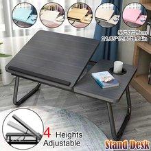 Ajustável dobrável mesa portátil notebook mesa de café da manhã servindo bandejas cama dobrável mesa do computador carrinho preguiçoso cama bandeja