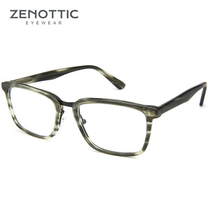 Image 3 - ZENOTTIC lunettes de vue carrées en acétate, montures pour hommes, lentille transparente daffaires, monture, pour myopie optique