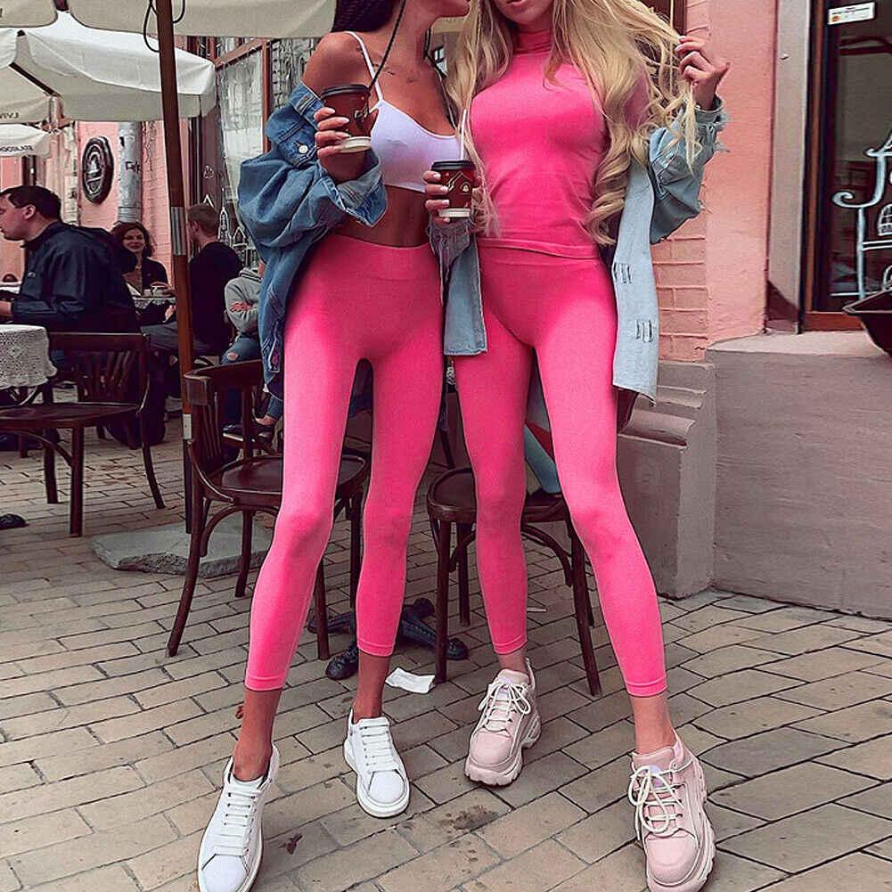 2019 Новое поступление повседневные эластичные женские антицеллюлитные спортивные Леггинсы высокие васиные прикладочные узкие длинные брюки верхняя одежда