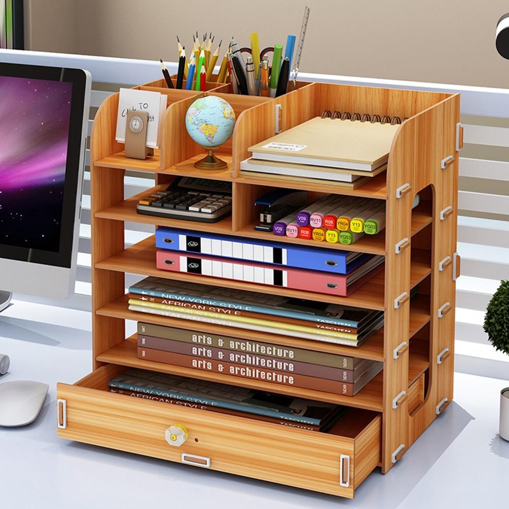 Magazine Document Folder Rack Shelf Wooden Storage Organizer Wooden Book Rack Book Shelf Table Organizer