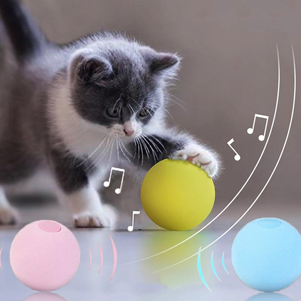 Cat Toys Interactive Ball Smart Touch Sounding Catnip ball Pet Supplies Kitten Training Squeak Toys for Dogs