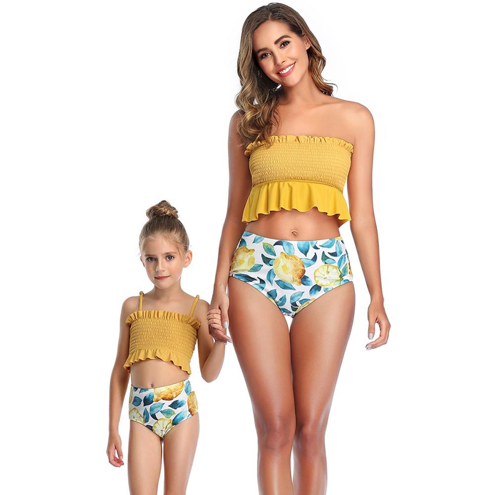 Mom Baby Swimwear Swimsuit Split Parent-child Beach Wear Suit Women Children Bikini Sexy Push Up Bandeau Sling Ruffled Fold