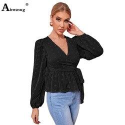 Women Sexy Clothing Lantern Sleeve V-neck Blouse 2021 Summer New Patchwork Dot Top Ladies Elegant Transparent Shirt blusas femme