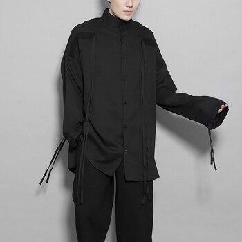 2020 Trendy men fashion personality ribbon splicing niche design casual long-sleeve shirt men's spring shirt