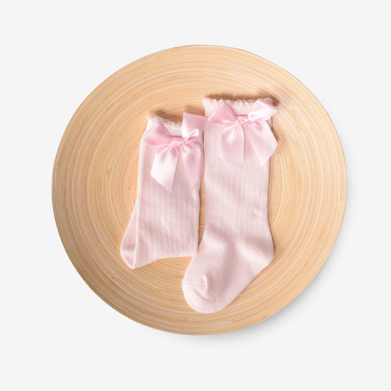 2020 Spring New Children's Cute Socks Girls Monochrome Striped Bubble Socks Baby Bow Cotton Socks Non-slip Socks Knee Sleeve