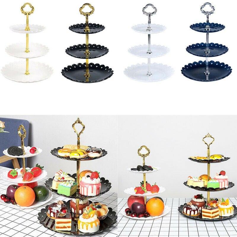 3 яруса кружевных Пластик подставка для свадебного торта днем Чай Свадебные тарелки столовая посуда новые формы для выпечки торта магазин трехслойный торт стеллаж для выставки товаров