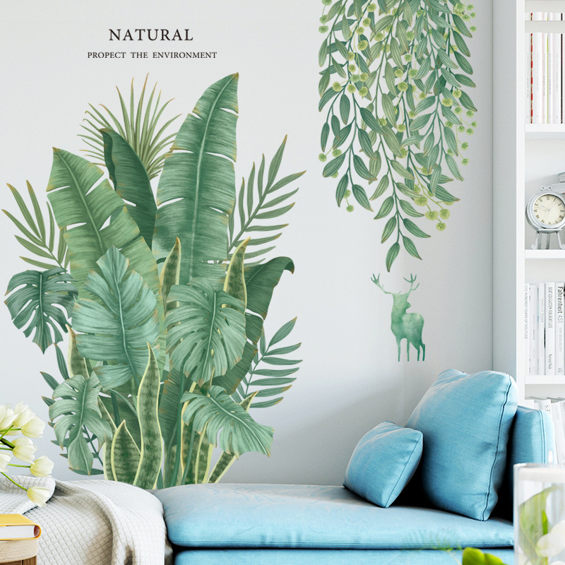 Removable Nordic style Banana Leaf Wall Stickers for Living room Bedroom Dining room Kitchen Kids room Wall Decals Sofa Murals 1